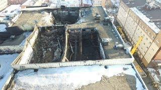 Дрон снял сгоревший ТЦ в Кемерово