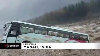 Горная река унесла с собой автобус