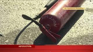 Автомобиль едва не загорелся после столкновения в ДТП на Адмирала Юмашева
