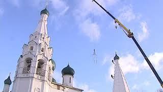 На храме Ильи Пророка возобновились работы по установке крестов