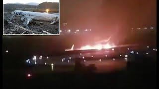 Miracle escape as crew and passengers flee plane crash in Sochi, Russia