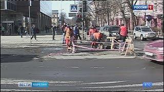 В центре Петрозаводска провалился асфальт