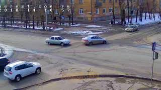 ДТП (авария г. Волжский) ул. Пушкина ул. Коммунистическая 22-02-2018 14-11