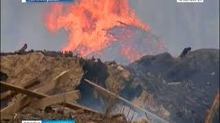 Под Канском горят отходы деревообрабатывающих производств