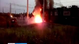 В Козульском районе загорелся электровоз грузового состава