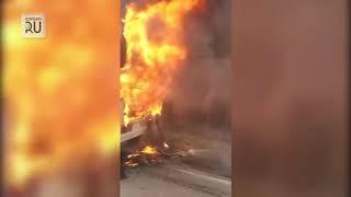 На трассе под Курганом сгорел пассажирский автобус