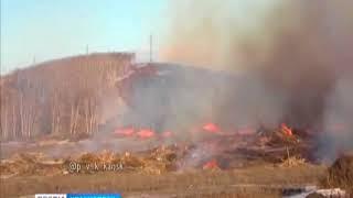 Под Канском вновь загорелись древесные отходы