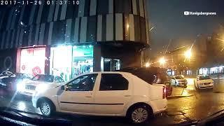 ДТП с такси на Ленинском проспекте в Калининграде 26.11.17