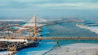 В Югре построили уникальный мост. Фрагмент программы «Открытка из России», 2004 год