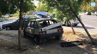 В Энергодаре водитель врезался в дерево и сбежал с места ДТП