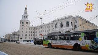 Утром в Чебоксарах недалеко от остановки «Элара» встали троллейбусы.