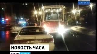 В Иркутске трамвай снова протаранил автомобиль
