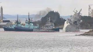 Норвежский фрегат столкнулся с танкером