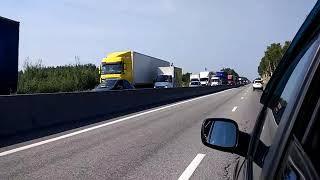 Пробка на трассе М7 после аварии с участием фуры