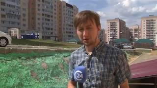 В посёлке Солнечный коммунальщики покрасили газон зелёной краской